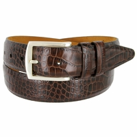 "Lejon Belt Le Pergola Italian Calfskin Leather Dress Belt 1-3/8"" Wide Brown"