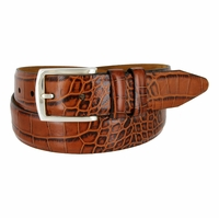 "Lejon Belt Le Pergola Italian Calfskin Leather Dress Belt 1-3/8"" Wide Cognac"