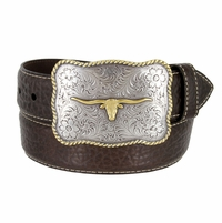 "Lejon Belt Maverick Pebble Grained Bison Leather Belt 1-1/2"" Wide T. Moro(Dark Brown)"