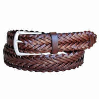 Lejon Belt Men's Leather Braided Dress Belt - Cognac
