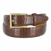 "Lejon Belt Men's Westbridge Lizard Embossed Leather Dress Belt 1-3/8"" Wide Made in USA - Brown"