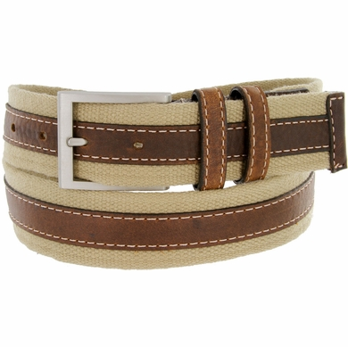 "Lejon Belt Pier 39 Leather Lined Webbed Cotton Dress Belt 1-1/2"" Beige"
