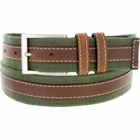 "Lejon Belt Pier 39 Leather Lined Webbed Cotton Dress Belt 1-1/2"" Green"