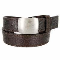 Lejon Belt Pow Pebble Grained Bison Leather Belt Brown Made in USA