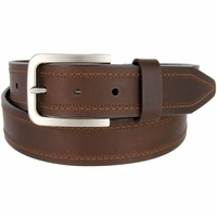 "Lejon Belt Tam Genuine Leather Casual Jean Belt Made in USA 1-1/2"" wide Brown"