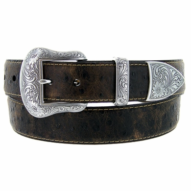 "Lejon Belt Wyatt Italian Calfskin Embossed Ostrich Western Leather Belt 1-1/2"" Wide Brown"