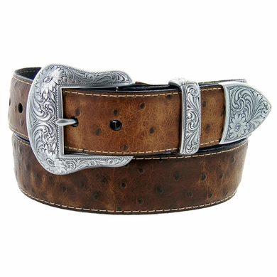 "Lejon Belt Wyatt Italian Calfskin Embossed Ostrich Western Leather Belt 1-1/2"" Wide Tan"