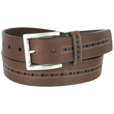 Lejon Center Stitched Perforated Oil Tanned Harness Leather Dress Belt - Brown