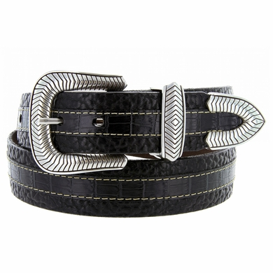 "Lejon Coloma Belt Italian Calfskin Embossed Croco Bison Leather Belt 1-1/2"" Wide Black"