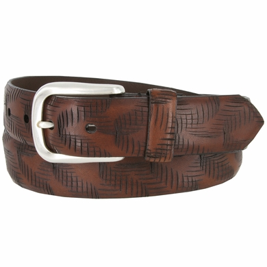 "Lejon Criss Cross Pattern Style Italian Saddle Leather Casual Dress Belt 1-3/8"" wide - 18272"