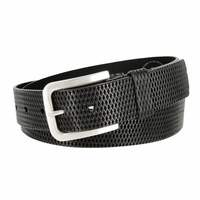Lejon Diamond Patterned Genuine Italian Saddle Leather Casual Belt - Black