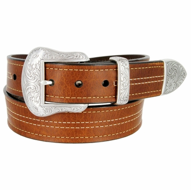 "Lejon El Dorado Western Belt Genuine Leather Belt 1-1/2"" Wide Tan Made in USA"