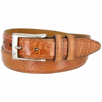 "Lejon Genuine Ostrich Leg Skin Embossed Leather Dress Belt 1-1/4"" wide - Tan"