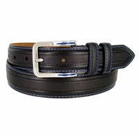 Lejon Glove Leather Double Stitched Edges Center Line Dress Belt - Black