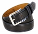 Lejon Glove Leather Double Stitched Edges Center Line Dress Belt - Black1