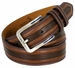 Lejon Glove Leather Double Stitched Edges Center Line Dress Belt - Brown1