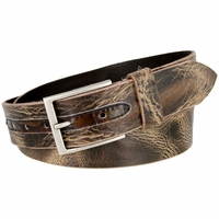 "Lejon Italian Saddle Distressed Style Leather Casual Dress Belt 1-1/2"" wide - 14302"