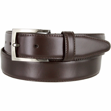 "MA133860 Genuine Italian Calfskin Leather Dress Casual Belt 1-3/8"" (35mm) wide with Nickel Plated Buckle"