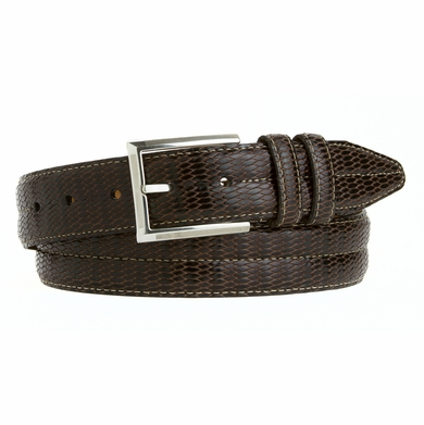LEJON Men's Dress Genuine Italian Calfskin Leather Belt Made in the USA Brown L15992