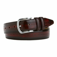 LEJON Men's Dress  Italian Calfskin Leather Belt Made in the USA Wine L16081