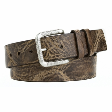 LEJON Mens Casual Jean Belt  Made in the USA Italian Saddle Distressed Thick Leather Brown L82132