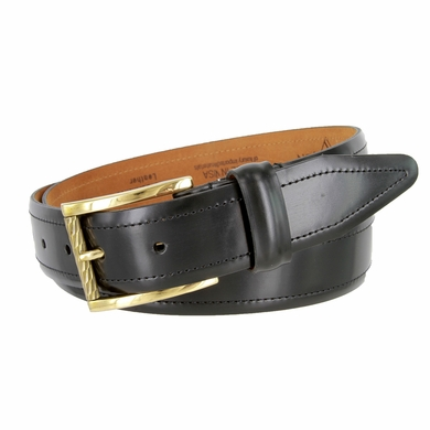 LeJon Smooth Mens Dress Belt Hand Burnished Leather - Black
