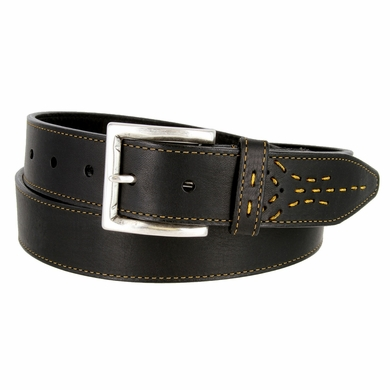 Lejon Oil Tanned Harness Leather Casual Dress Belt with Arrow Stitching Design - Black