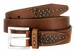 Lejon Oil Tanned Harness Leather Casual Dress Belt with Arrow Stitching Design - Brown3