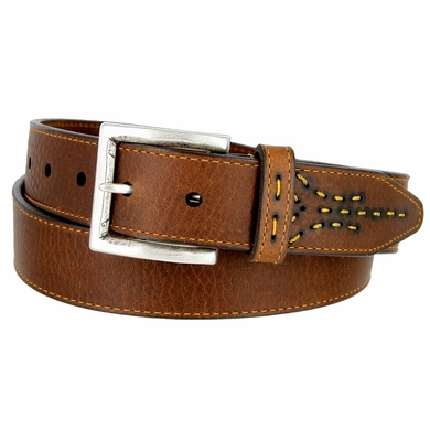 Lejon Oil Tanned Harness Leather Casual Dress Belt with Arrow Stitching Design - Brown