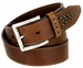 Lejon Oil Tanned Harness Leather Casual Dress Belt with Arrow Stitching Design - Brown1