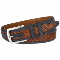 Lejon Oil Tanned Nubuck Stitched Edges Crossweaved Leather Dress Belt - Blue