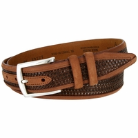 Lejon Oil Tanned Nubuck Stitched Edges Crossweaved Leather Dress Belt - Brown