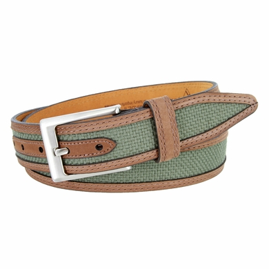 Lejon Oil Tanned Nubuck Stitched Edges Crossweaved Leather Dress Belt - Green