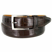 Lejon Single Stitched Italian Calfskin Alligator Embossed Leather Dress Belt - Dark Brown