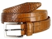 Lejon Single Stitched Italian Calfskin Alligator Embossed Leather Dress Belt - Tan2
