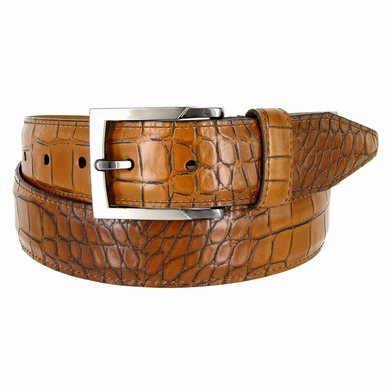 Lejon Single Stitched Italian Calfskin Alligator Embossed Leather Dress Belt - Tan