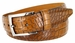 Lejon Single Stitched Italian Calfskin Alligator Embossed Leather Dress Belt - Tan1