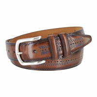 Lejon Smooth Blue Arrow Pattern Leather Dress Belt - Brown