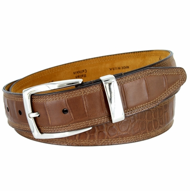 Lejon Triple Stitched Alligator Embossed Italian Calfskin Casual Dress Belt - Brown