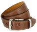 Lejon Triple Stitched Alligator Embossed Italian Calfskin Casual Dress Belt - Brown1