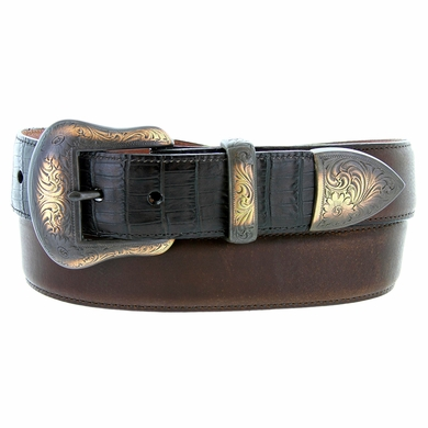 "Lejon Tucson Belt Italian Calfskin Embossed Croco Leather Belt 1-1/2"" Wide Brown"