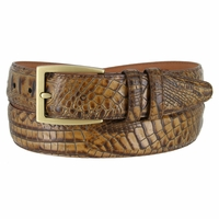 "Lejon Belt 2022 Men's Italian Calfskin Alligator Embossed Leather Belt 1-3/8"" Wide Made In USA"