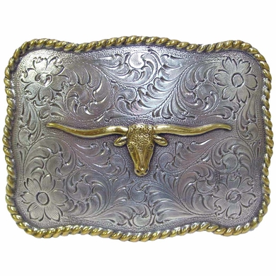 Longhorn Steer Head Gold and Silver Finish Western Belt Buckle H-8143 ASAG