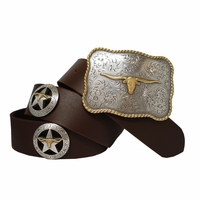 LongHorn Steer Star Western Leather Concho Belt