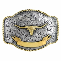 Longhorn Steer Western Rope Belt Buckle HA0435 ASAG