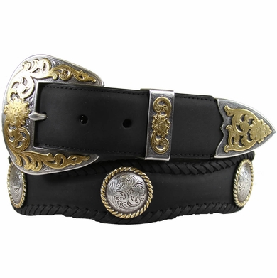 Lord Jim Western Leather Western Conchos Engraved Belt