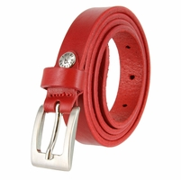 "1794/19 Women's Skinny 3/4""  Genuine Leather Dress Belt Made in Italy (Red)"
