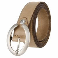 "2490-30 1-1/8"" Genuine Leather Belt Made In Italy (Taupe)"