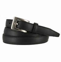 "2509/19 Stitched Women's Skinny 3/4""  Genuine Leather Dress Belt Made in Italy (Black)"