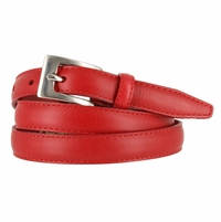 "2509/19 Stitched Women's Skinny 3/4""  Genuine Leather Dress Belt Made in Italy (Red)"